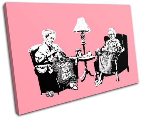Knitting Grannies Banksy Painting - 13-0954(00B)-SG32-LO